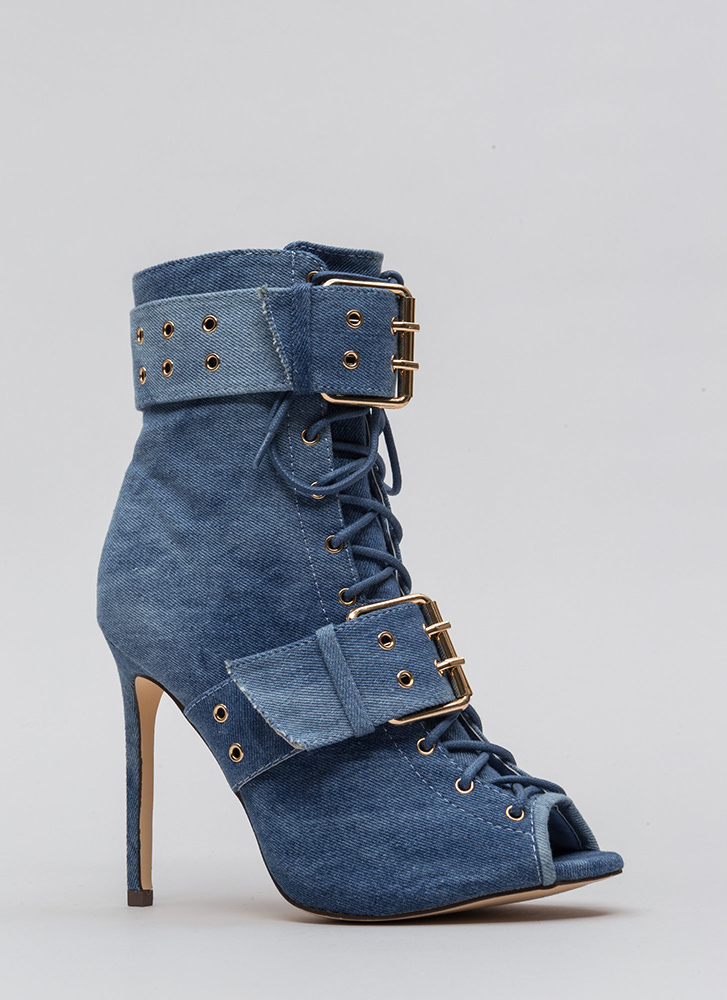 Pack A Punch Lace-Up Denim Booties BLUEWASH