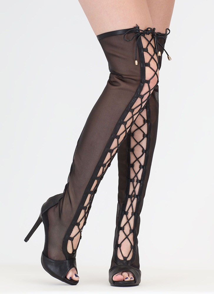 Mesh Around Lace-Up Thigh-High Boots BLACK (You Saved $48)