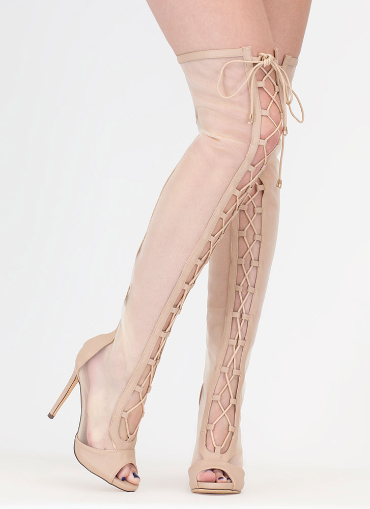 Mesh Around Lace-Up Thigh-High Boots NUDE (You Saved $48)