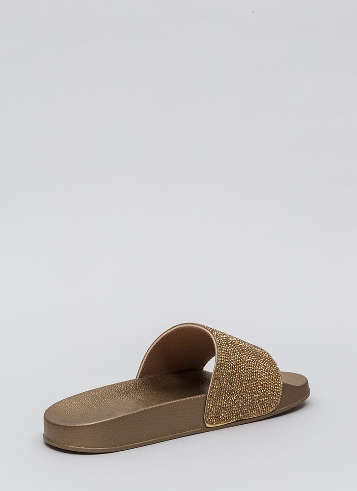 Bling The Heat Jeweled Slide Sandals GOLD