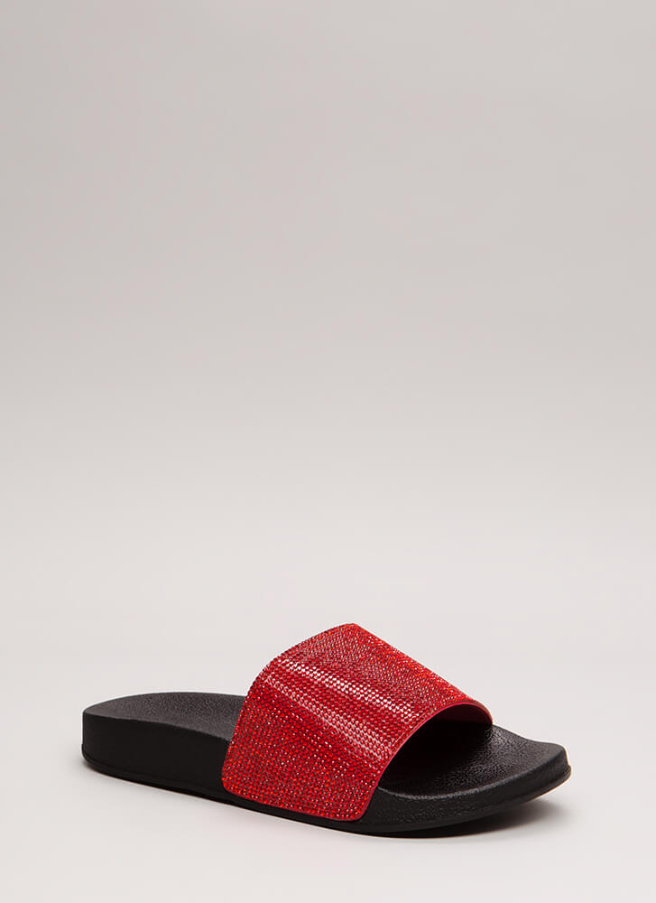 Bling The Heat Jeweled Slide Sandals RED