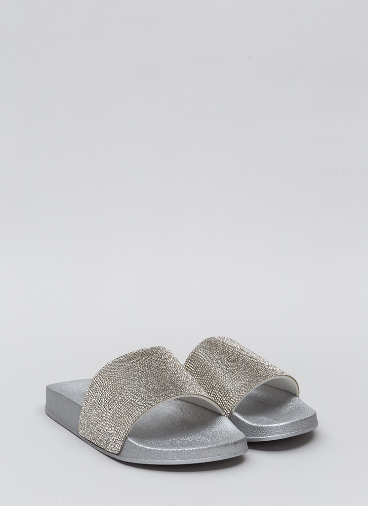 Bling The Heat Jeweled Slide Sandals SILVER
