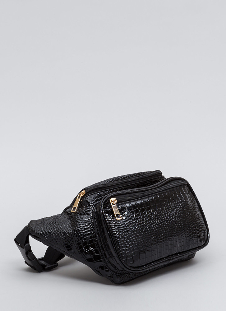 Snake Action Faux Patent Fanny Pack BLACK
