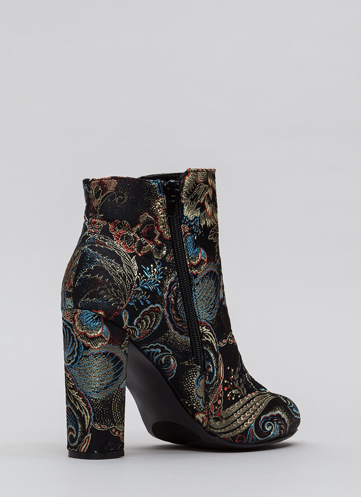 This Is Living Chunky Floral Booties BLACK