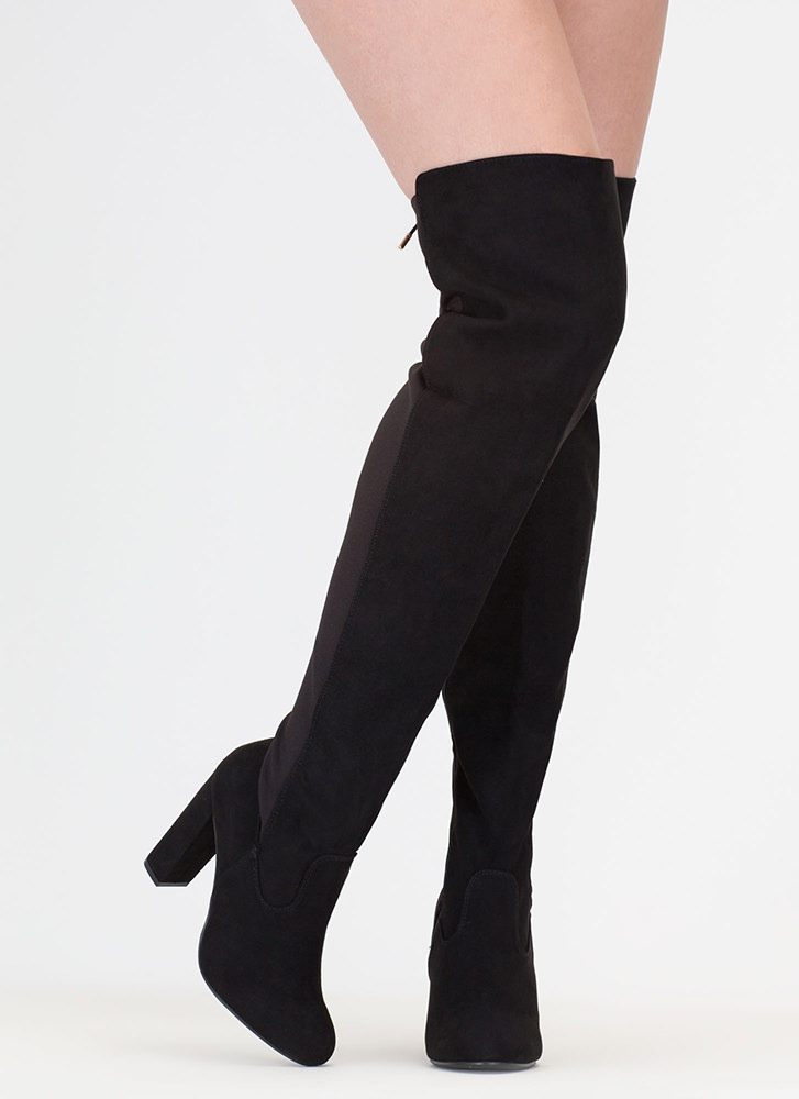 Tie One On Lace-Back Thigh-High Boots BLACK