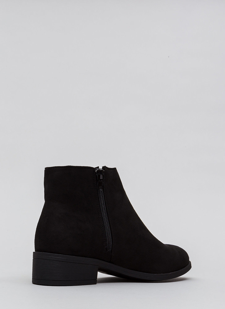 On The Block Chunky Faux Suede Booties BLACK
