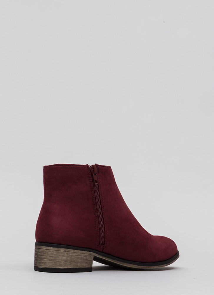 On The Block Chunky Faux Suede Booties BURGUNDY