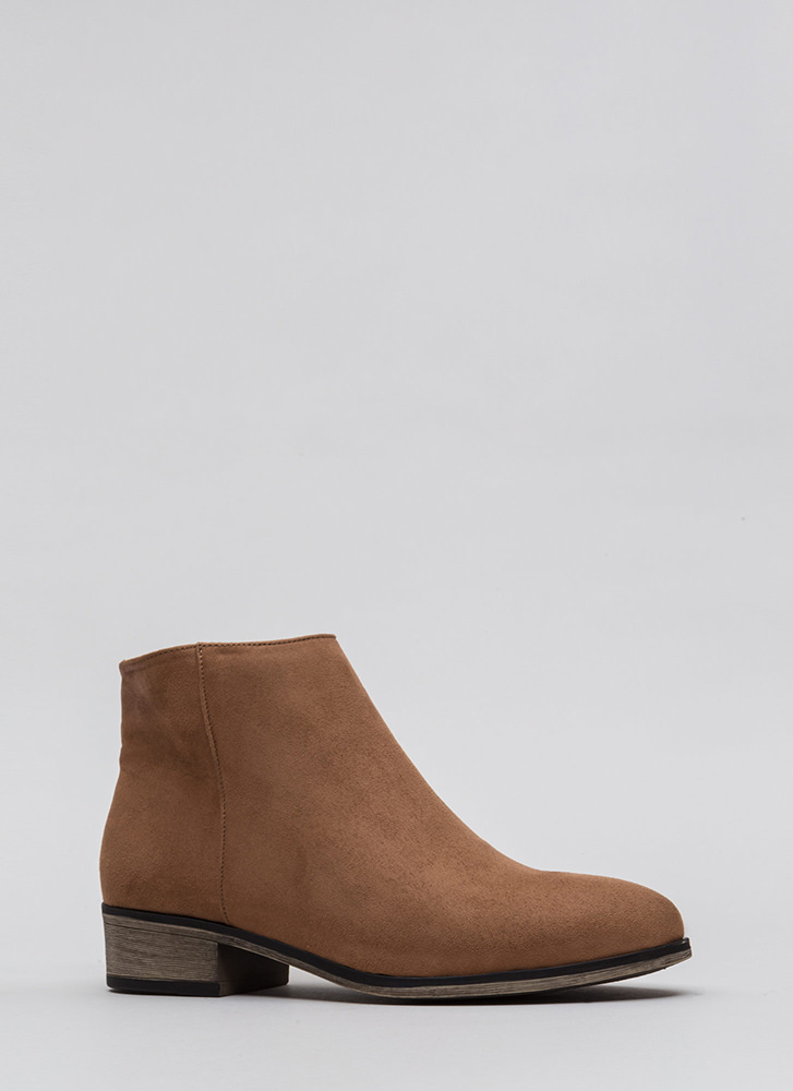 On The Block Chunky Faux Suede Booties CAMEL