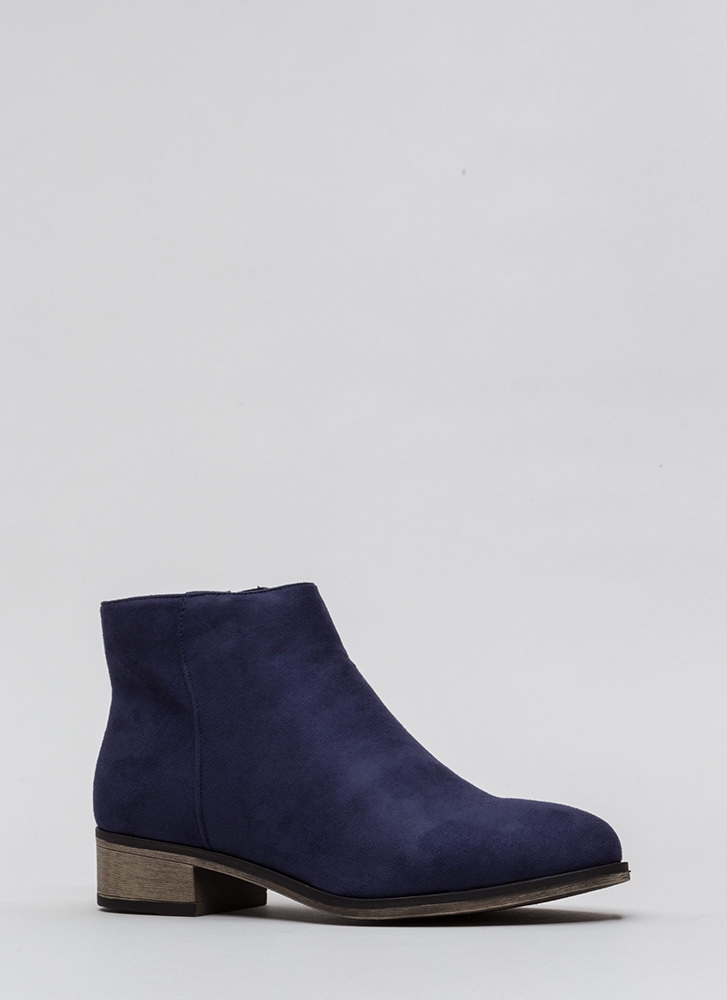 On The Block Chunky Faux Suede Booties NAVY