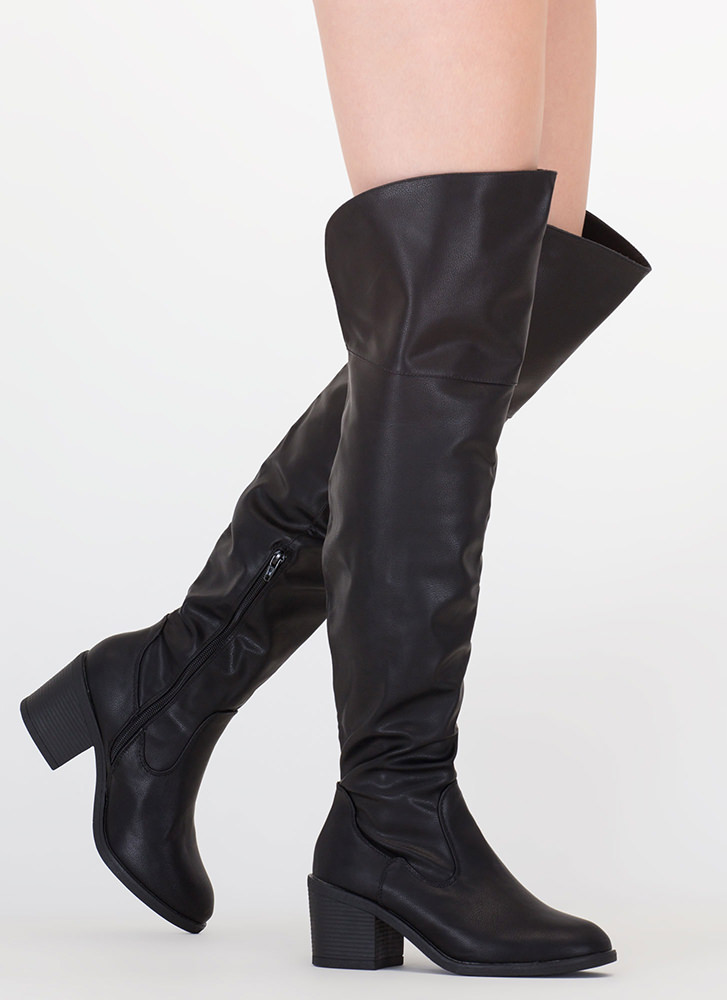 The Block Faux Leather Thigh-High Boots BLACK