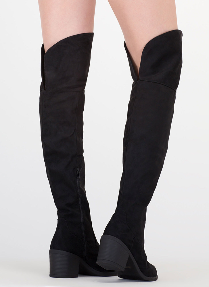 The Block Faux Suede Thigh-High Boots BLACK