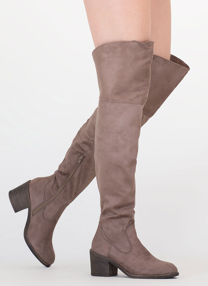 The Block Faux Suede Thigh-High Boots TAUPE
