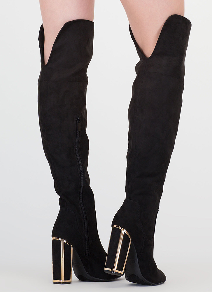 Frame Me Faux Suede Thigh-High Boots BLACK