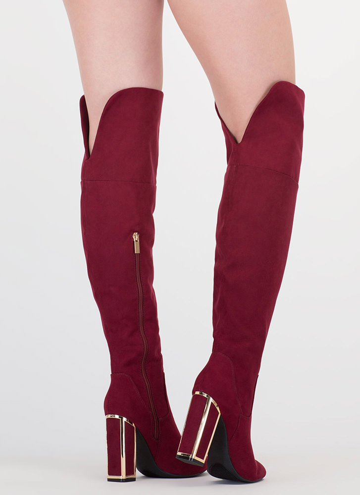 Frame Me Faux Suede Thigh-High Boots BURGUNDY