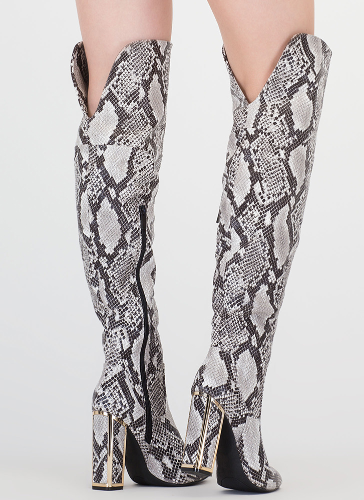 Frame Me Snake Scale Thigh-High Boots BLACK