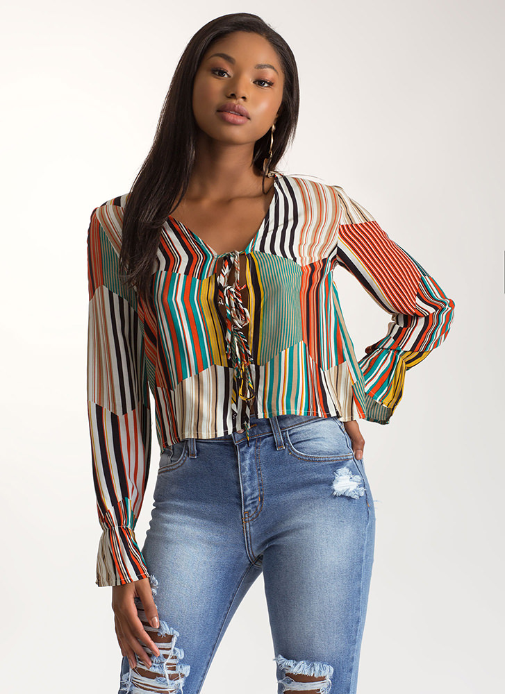 Pretty Little Ties Striped Ruffled Top ORANGEMULTI