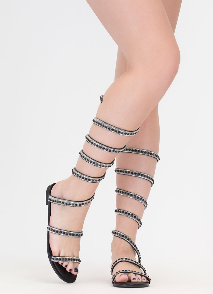 Playing Coil Studded Gladiator Sandals BLACK