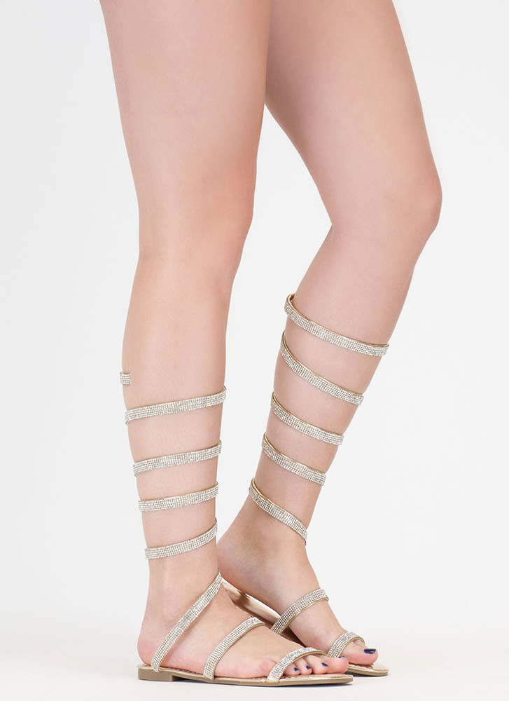 Playing Coil Jeweled Gladiator Sandals GOLD