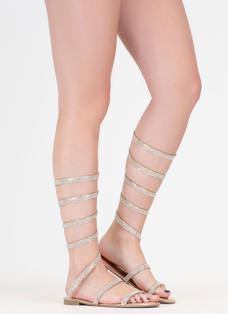 Playing Coil Jeweled Gladiator Sandals ROSEGOLD