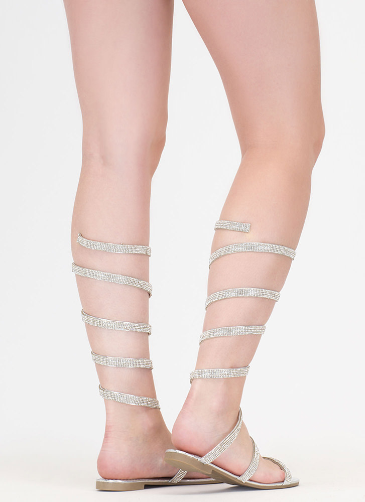 Playing Coil Jeweled Gladiator Sandals SILVER