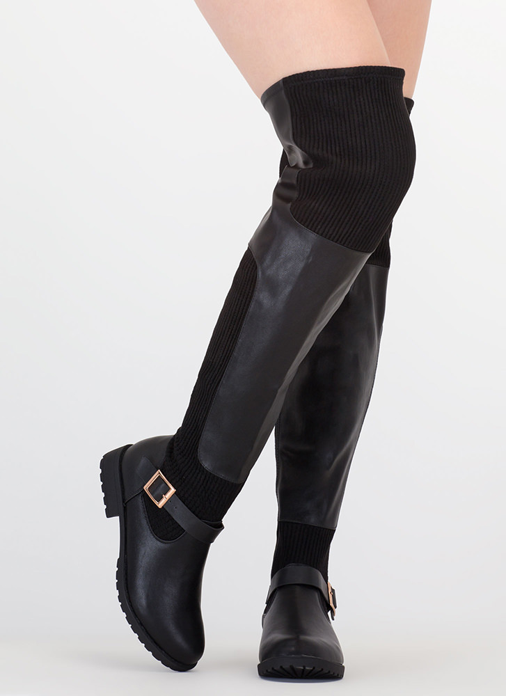Moto Mix Thigh-High Faux Leather Boots BLACK