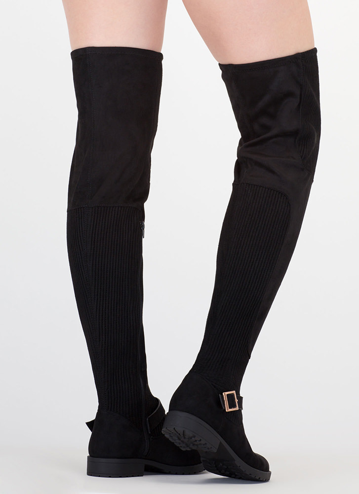 Moto Mix Thigh-High Faux Suede Boots BLACK