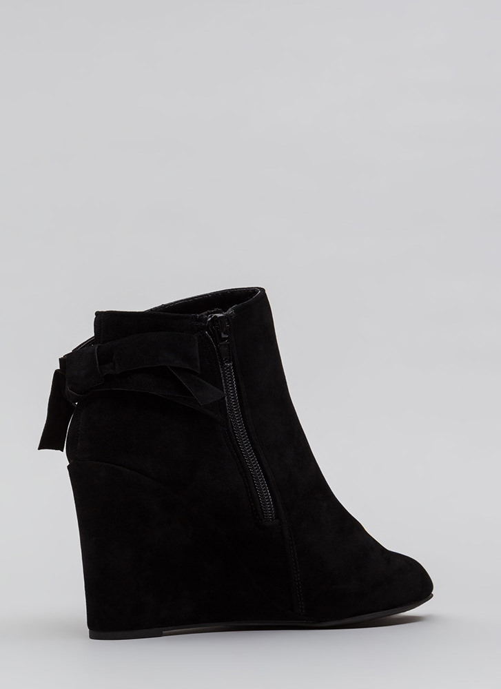 Bow So Cute Velvet Wedge Booties BLACK