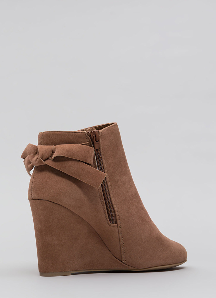 Bow So Cute Velvet Wedge Booties CAMEL
