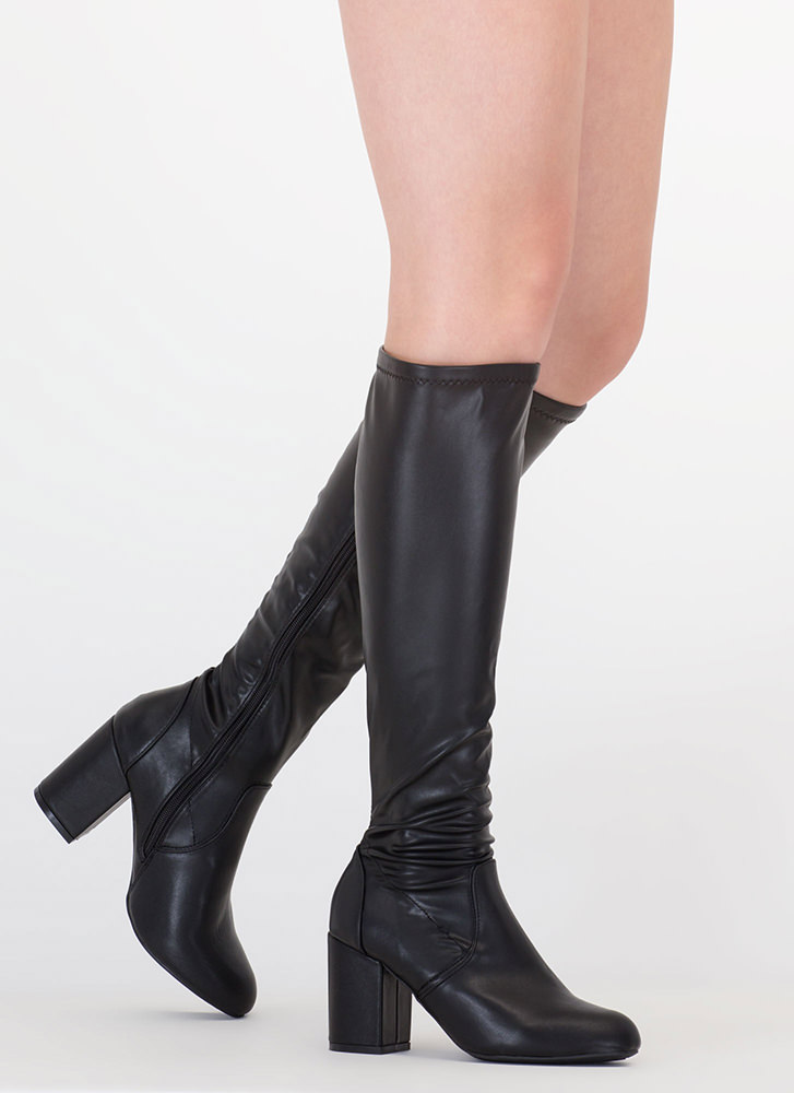 Going Out Faux Leather Knee-High Boots BLACK