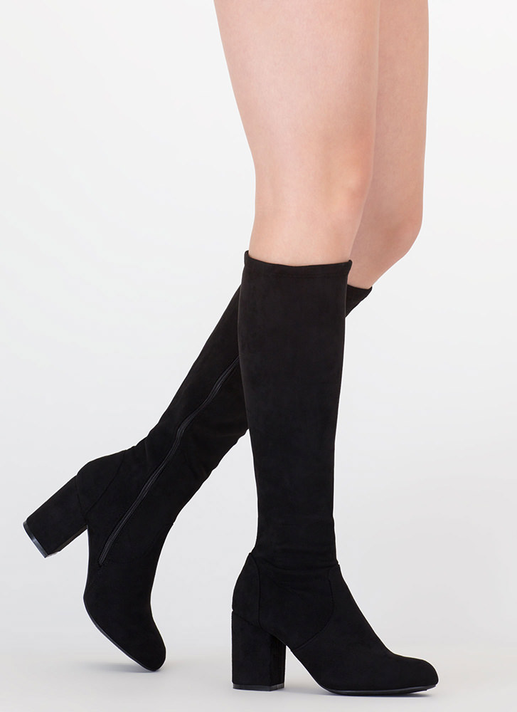 Going Out Faux Suede Knee-High Boots BLACK