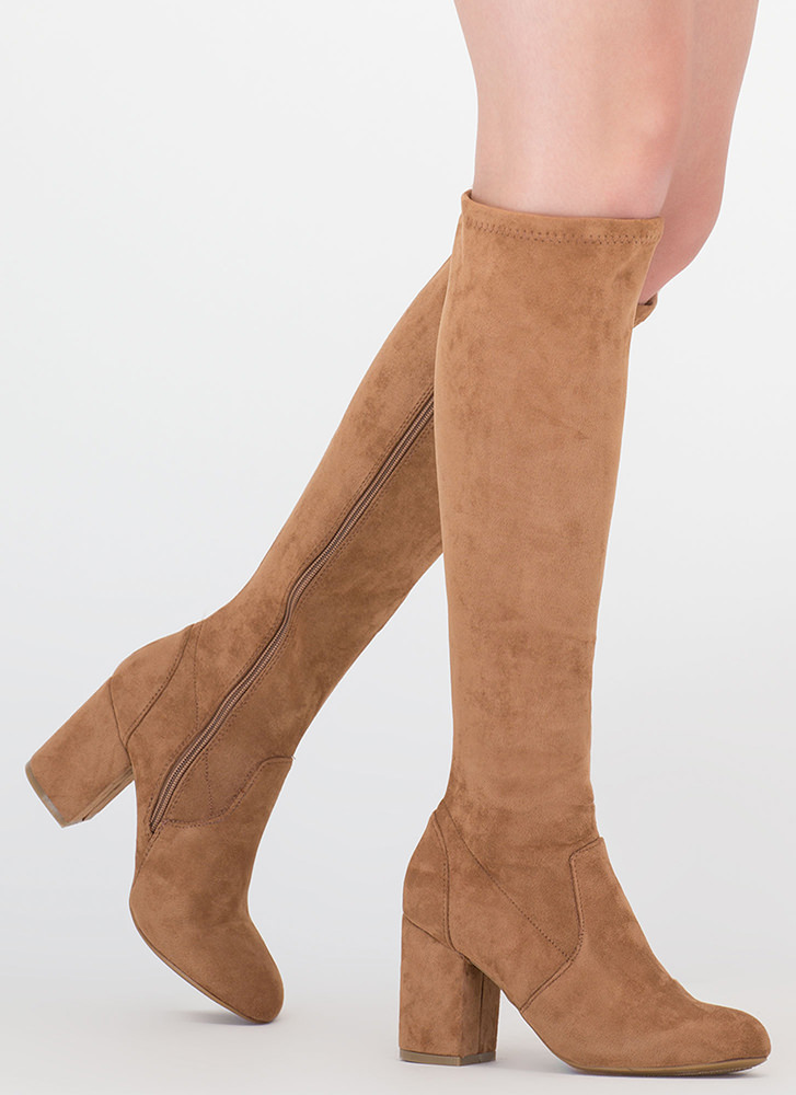 Going Out Faux Suede Knee-High Boots TAN