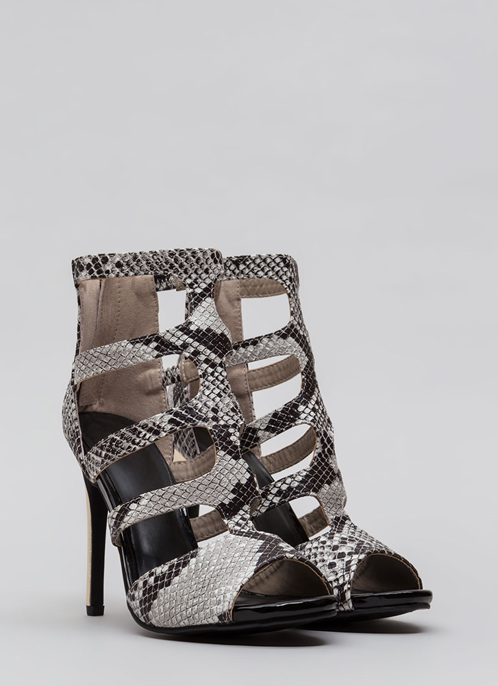 Snake Attack Caged Cut-Out Heels BLACK
