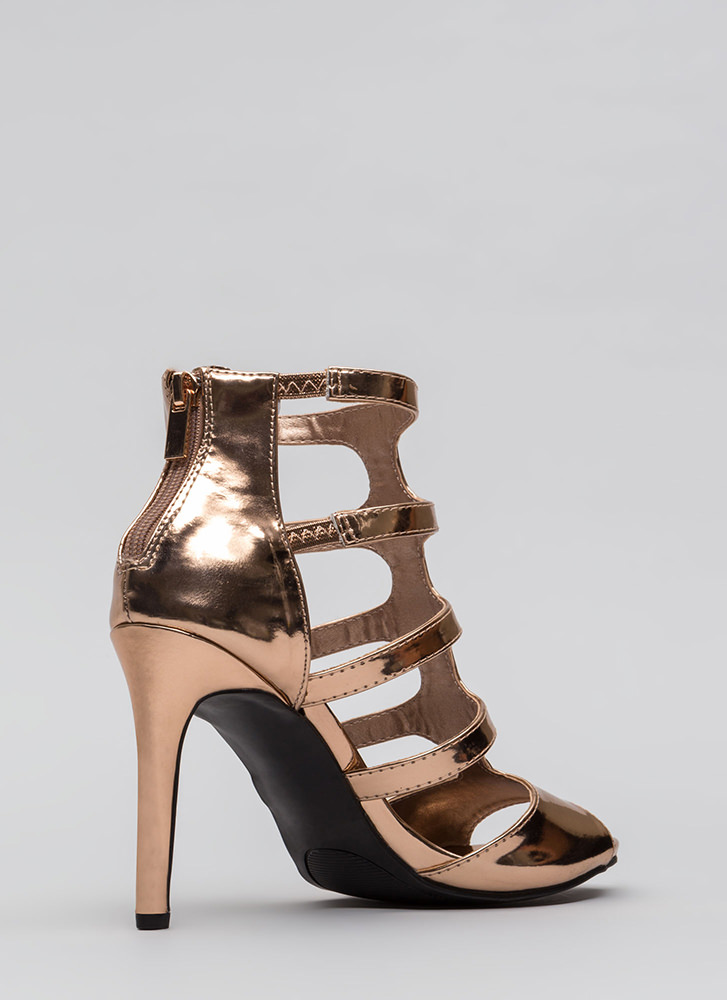 Out And About Caged Cut-Out Heels ROSEGOLD
