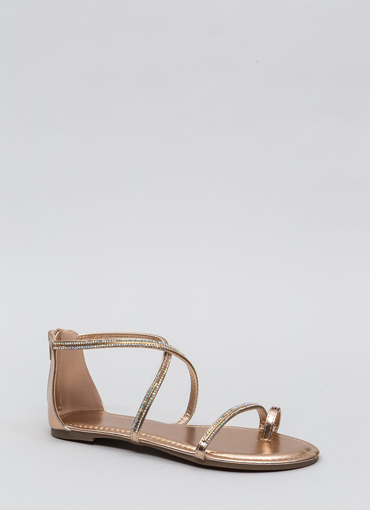 Chain Spotting Strappy Jeweled Sandals ROSEGOLD