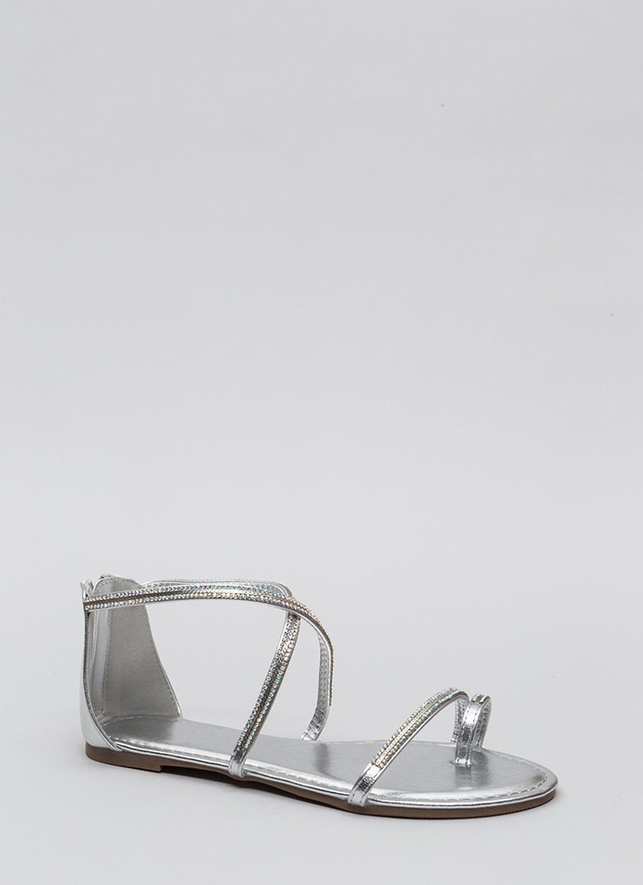 Chain Spotting Strappy Jeweled Sandals SILVER