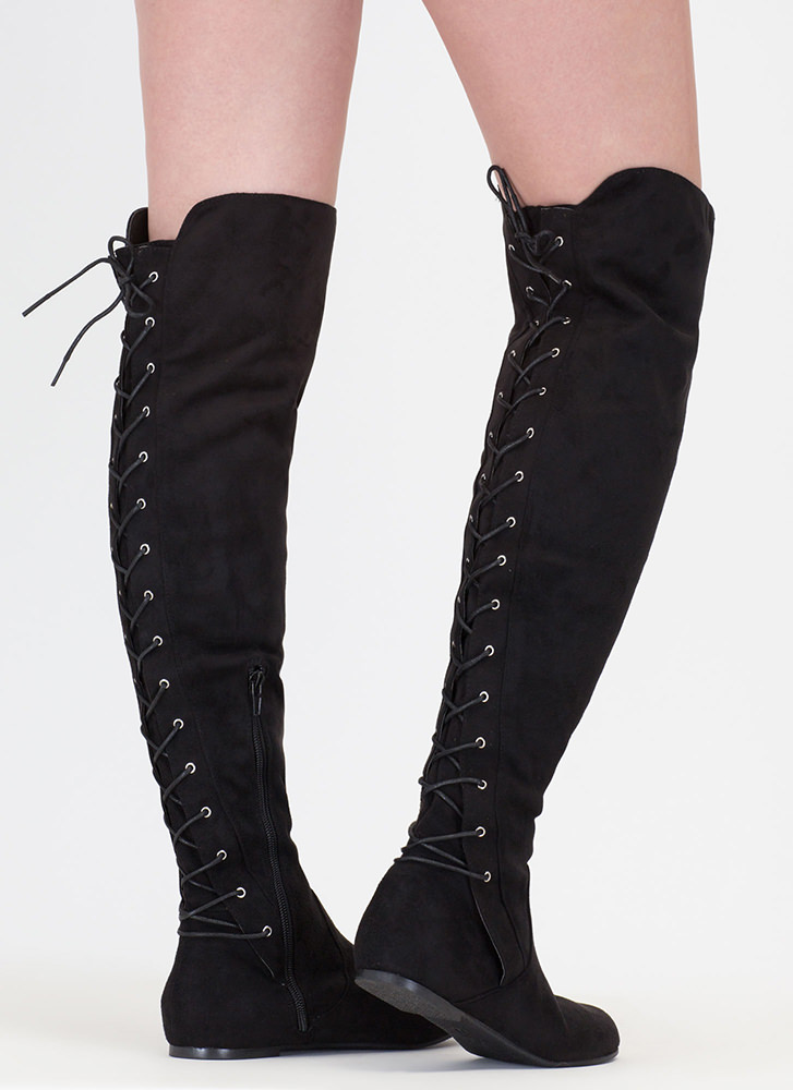 Haute Look Lace-Back Thigh-High Boots BLACK