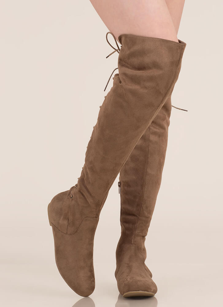 Haute Look Lace-Back Thigh-High Boots TAUPE (Final Sale)