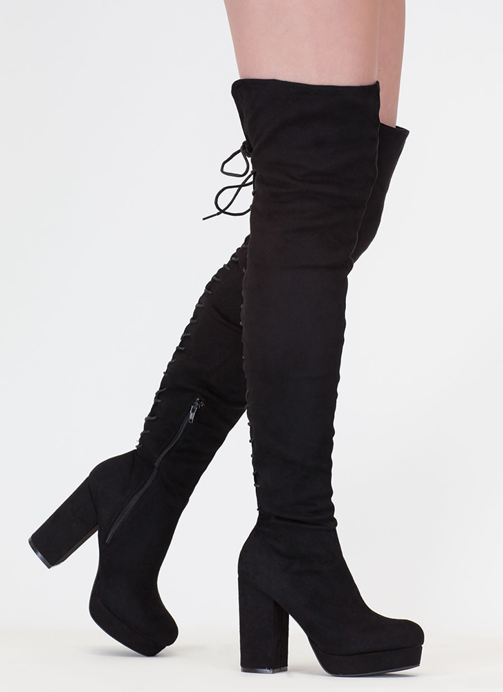 Stand Tall Lace-Back Thigh High Boots BLACK