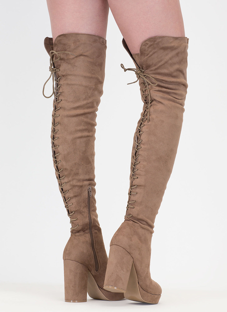 Stand Tall Lace-Back Thigh High Boots TAUPE
