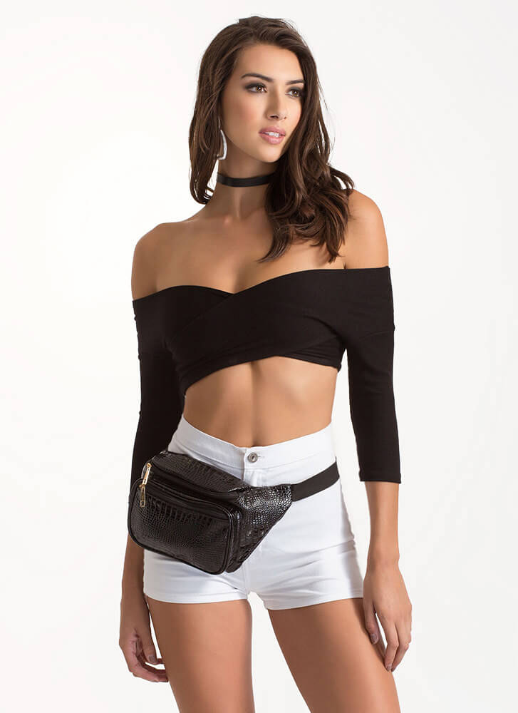Crisscross The Line Crop Plunging Top BLACK