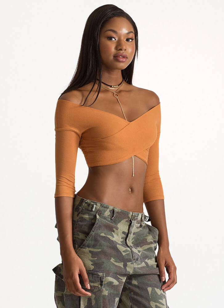 Crisscross The Line Crop Plunging Top MUSTARD