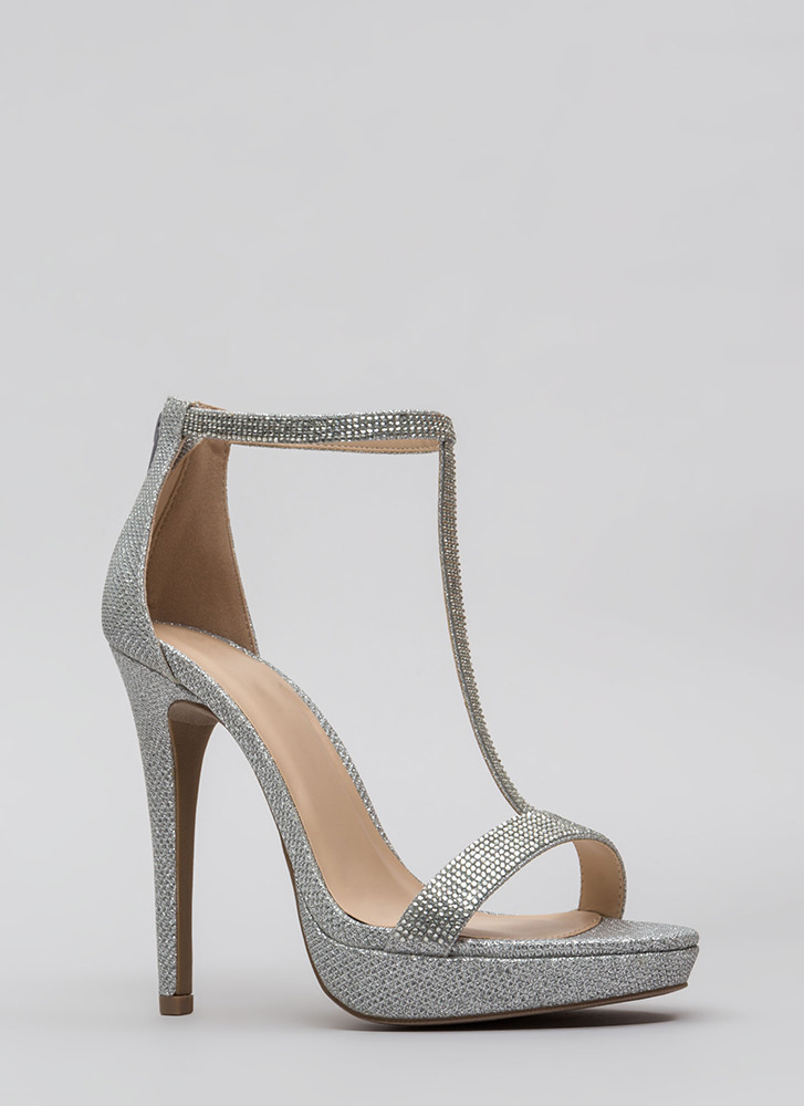 So Glam Glittery T-Strap Platforms SILVER