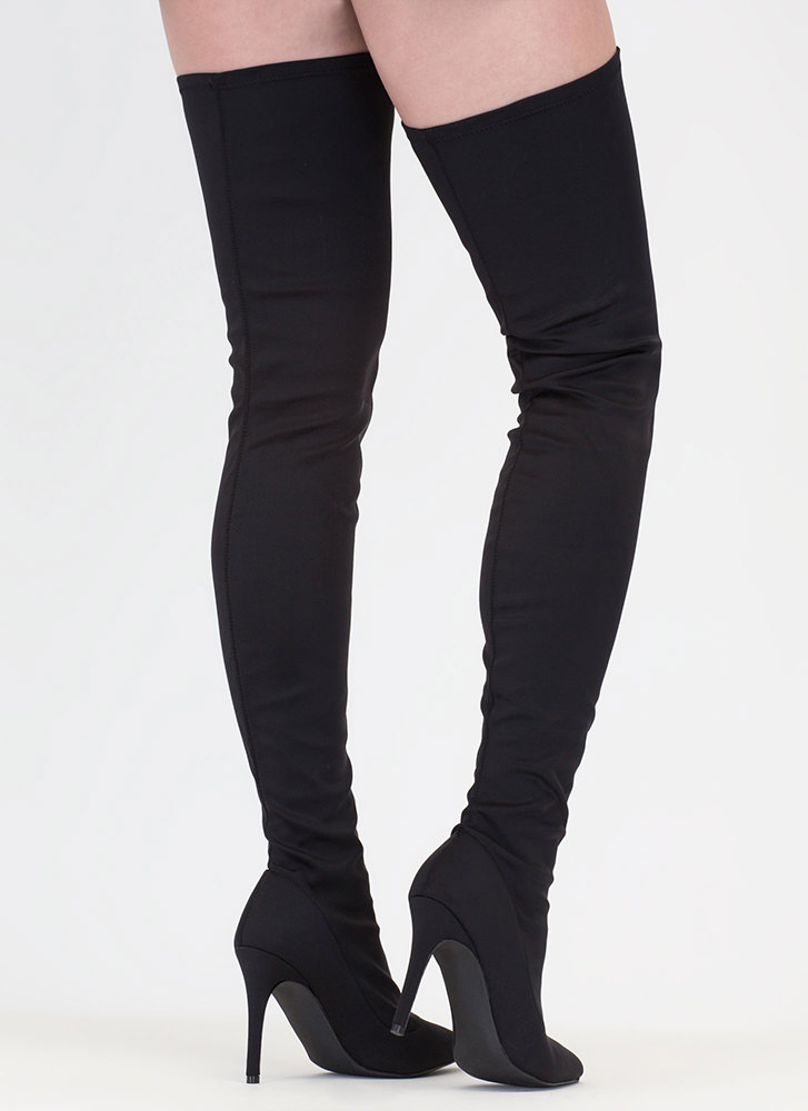 Simply Luxe Pointy Thigh-High Boots BLACK