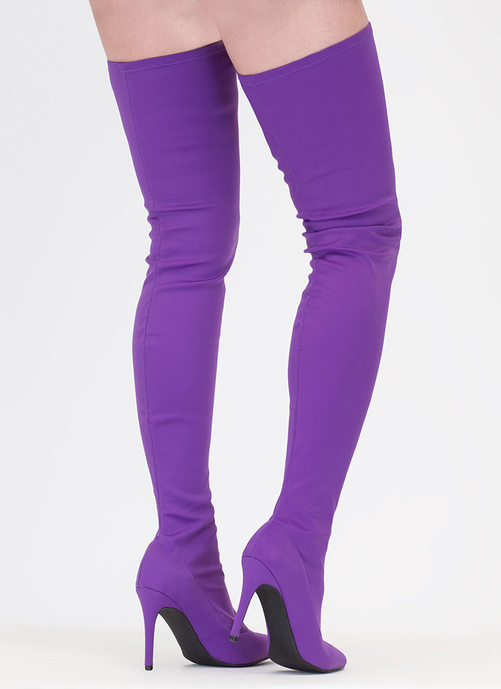 Simply Luxe Pointy Thigh-High Boots PURPLE