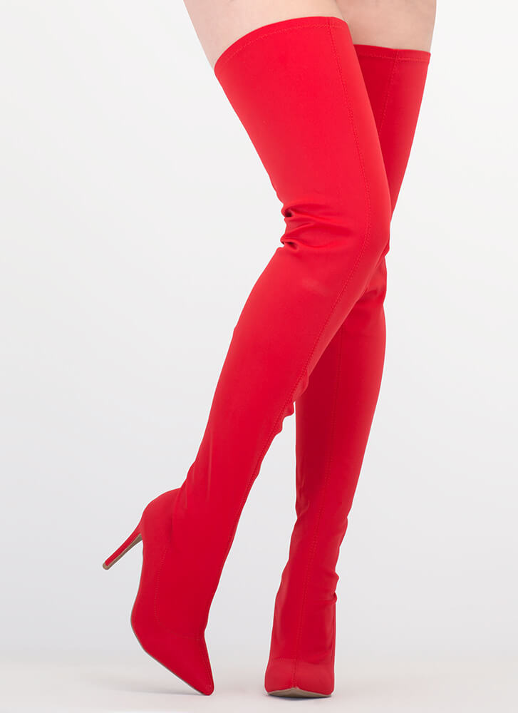 Simply Luxe Pointy Thigh-High Boots RED