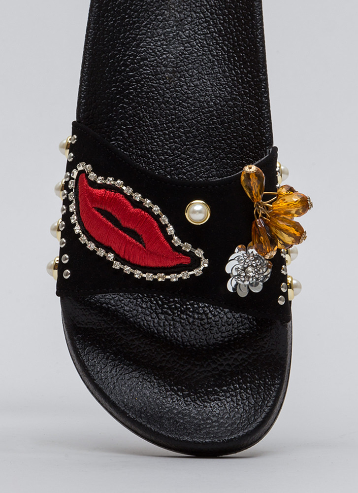 Read My Lips Embellished Slide Sandals BLACK