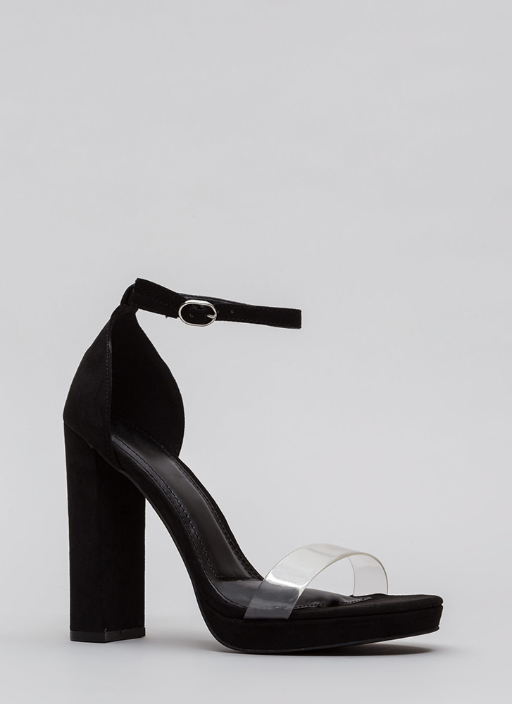 So Clear Chunky Faux Suede Platforms BLACK