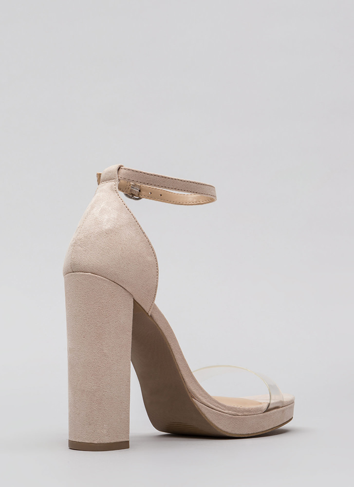 So Clear Chunky Faux Suede Platforms NUDE