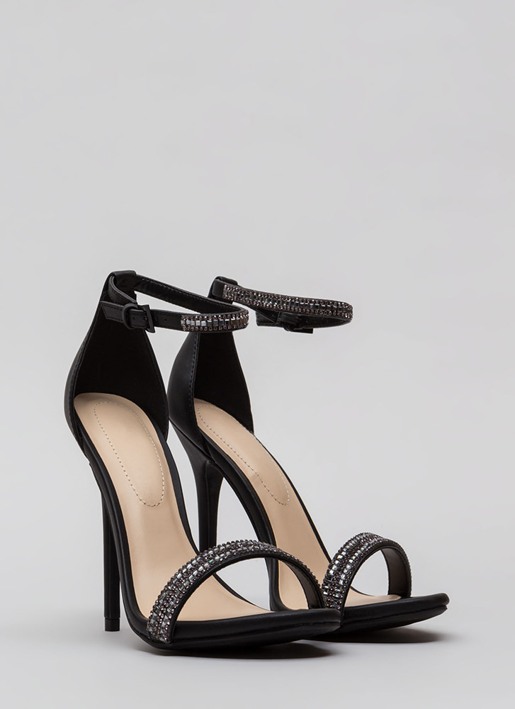 All Jeweled Up Faux Leather Heels BLACK