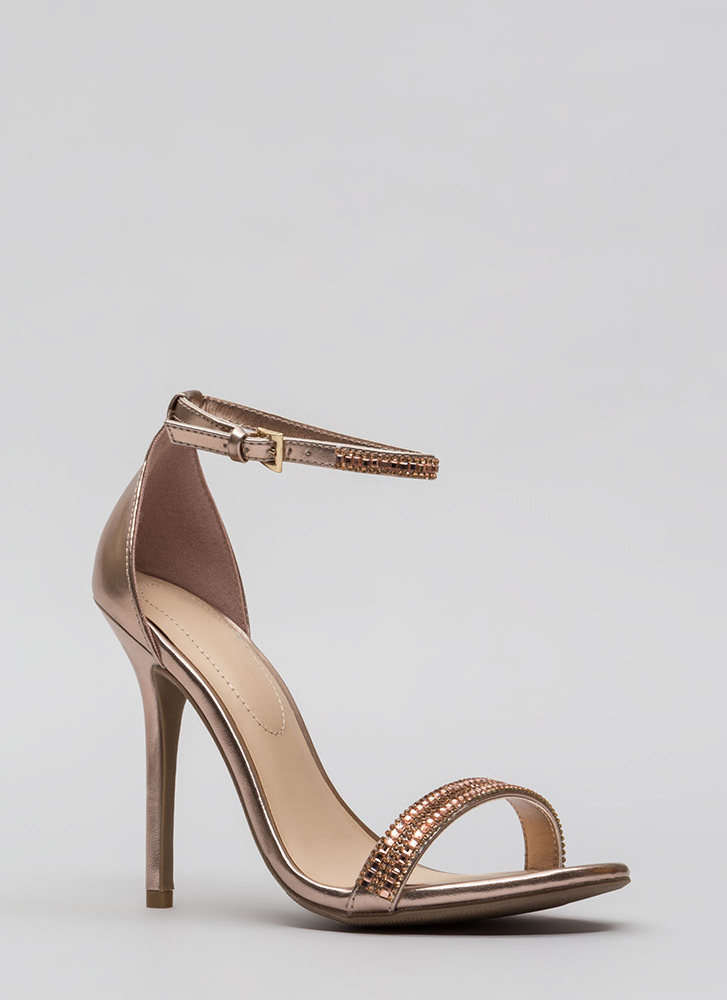 All Jeweled Up Strappy Metallic Heels ROSEGOLD